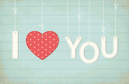 Cute vintage Valentines Day card I Love You as textile letters and heart in shabby chic style