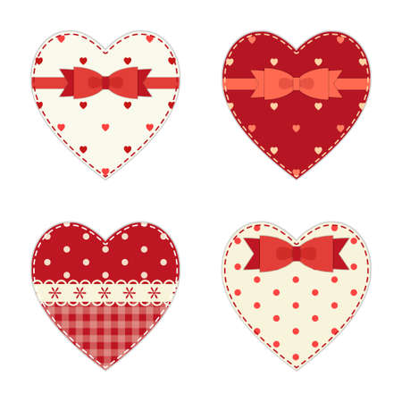 Cute hearts as retro fabric applique with ribbon and bow in shabby chic style