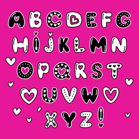 Cute 80s style Happy Valentines Day typography in fancy illustration.