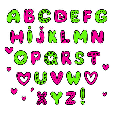 Cute 80s style Happy Valentines Day typography in colored, fancy illustration. Illustration