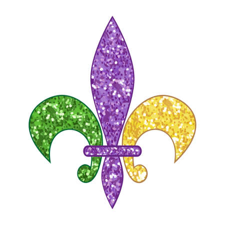 Beautiful corlorful fleur de lis with shimmer texture design. Illustration