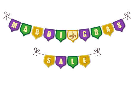 Cute vintage Mardi Gras bunting flags for your decoration