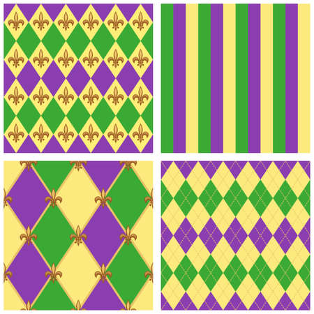 Cute Mardi Gras pattern in traditional colors.  イラスト・ベクター素材