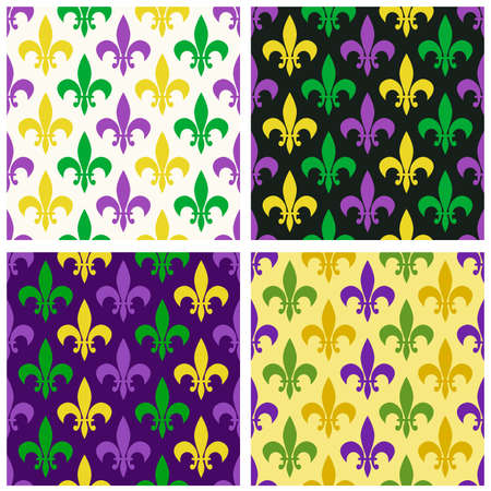 Cute seamless Mardi Gras pattern in traditional colors. Vettoriali