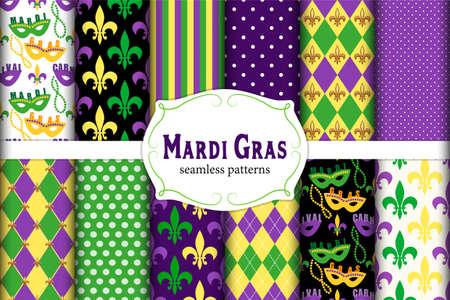 Leuke set van 12 naadloze Mardi Gras-patronen in traditionele kleuren.