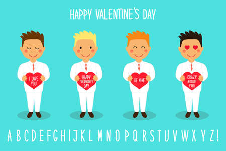 Cute Valentines Day cartoon characters of loving boys with heart in hands. Illustration