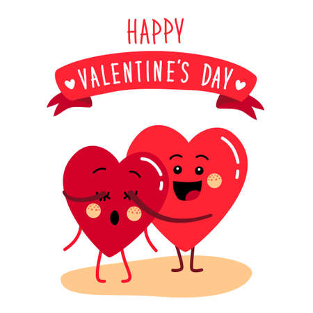 Cute holiday Valentines day card with funny cartoon character of emoji hearts for your decoration