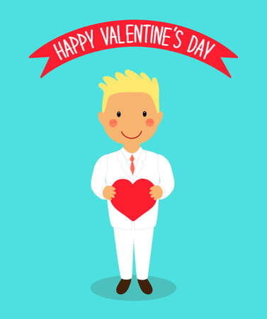 Cute Valentine's Day card with funny cartoon characters of loving boy with heart in hands for your decoration