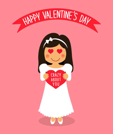 Cute Valentines Day card with funny cartoon character of loving girl with heart in hands. Illustration