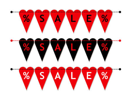 Eye catching set of heart shaped Valentines Day SALE bunting flags as different bright garlands with percent symbols. Illustration