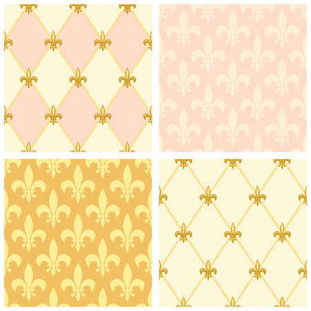 Cute seamless Fleur de Lis pattern  イラスト・ベクター素材