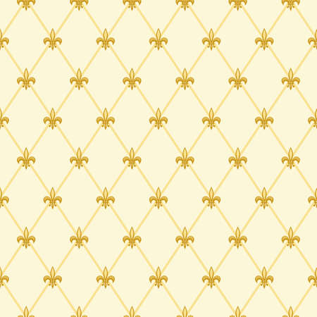 Cute seamless Fleur de Lis pattern in traditional colors for your decoration  イラスト・ベクター素材