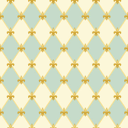 Cute seamless Fleur de Lis pattern in traditional colors for your decoration 일러스트