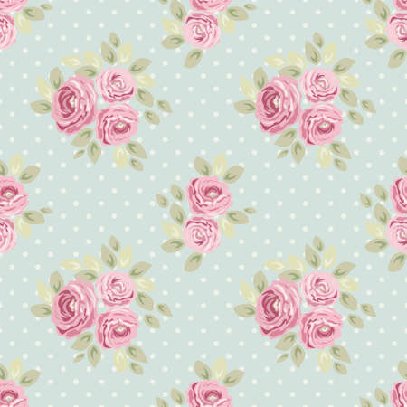 Cute vintage seamless shabby chic floral pattern for your decoration, can be used as wallpapers, fabrics design etc Ilustração