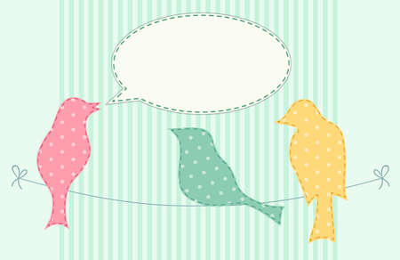 Cute fabric paradise birds with speech bubble as applique in shabby chic style for scrap booking or spring sale or baby shower etc Illustration