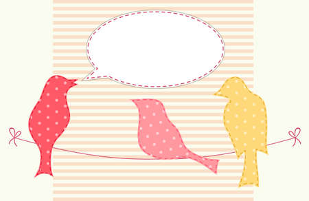 Cute fabric paradise birds with speech bubble as applique in shabby chic style.