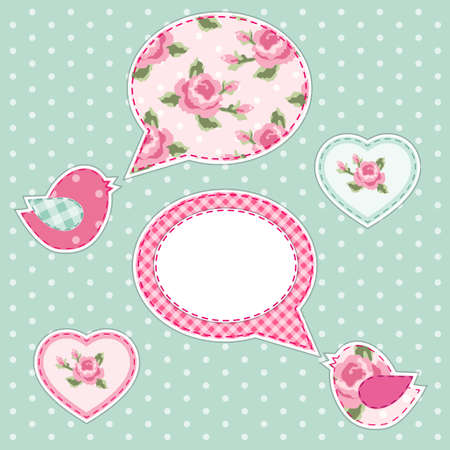 Cute fabric paradise birds with speech bubble as applique in shabby chic style Illustration