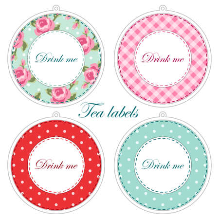Tea party printables as tea labels,cupcake toppers or tags in shabby chic style for your decoration