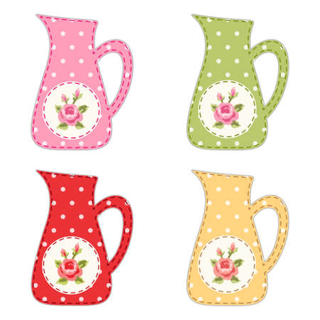 Set of retro jugs with roses as applique in shabby chic style for your decoration