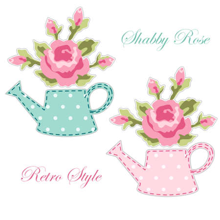 Cute retro spring and garden elements as fabric patch applique.