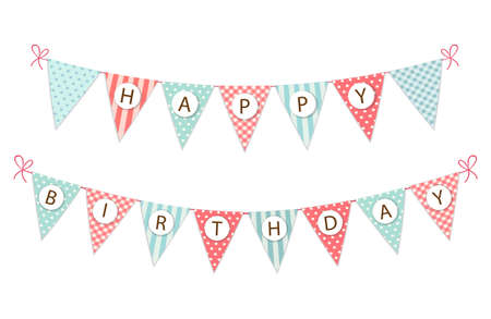 cute vintage festive fabric pennant banner as bunting flags with
