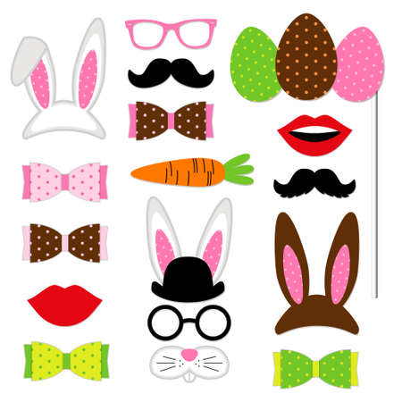 Cute Easter photo booth props as set of party graphic elements of easter bunny costume as mask, ears, eggs, carrot etc for your decoration Illustration