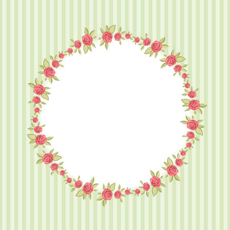 Retro floral round frame with roses in shabby chic style for your decoration Ilustracja