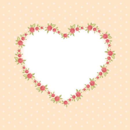 Retro floral heart shape frame with roses in shabby chic style