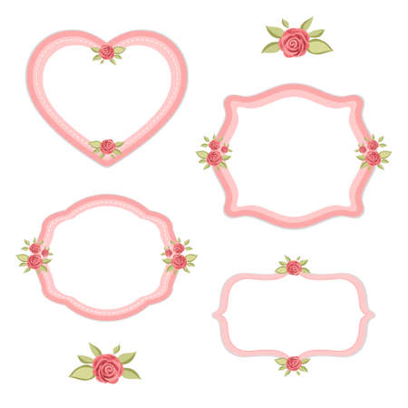 Retro floral frames set with roses in shabby chic style for your decoration Illustration