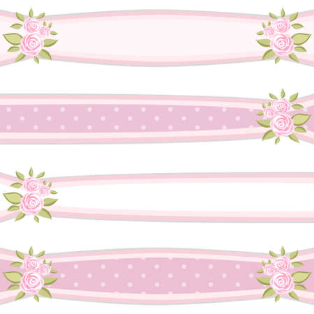 Retro ribbons with roses in shabby chic style