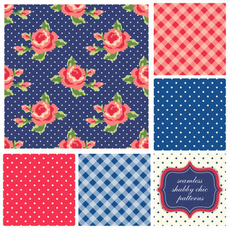Set of cute seamless Shabby Chic patterns with roses, polka dot and plaid Stock Illustratie