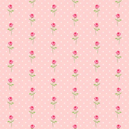 Cute seamless shabby chic pattern with roses and polka dots ideal for kitchen textile or bed linen fabric or interior wallpaper design, can be used for scrap booking paper.
