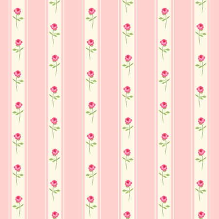 Leuk naadloos shabby chic patroon met rozen en stippen, ideaal voor keukentextiel of beddengoed of interieurontwerp, kan worden gebruikt voor schrootboekingspapier.