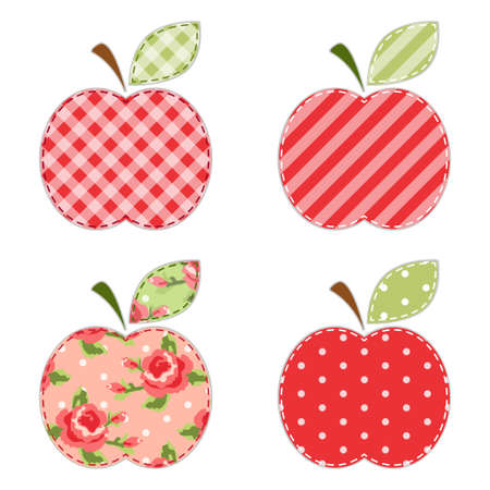 Fabric retro applique of cute apples with green leaf for scrap booking or invitation cards or party decoration Illustration
