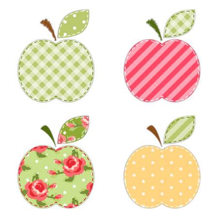 スクラップ予約や招待状やパーティーの装飾のための緑の葉とかわいいリンゴのファブリックレトロなアプリケ