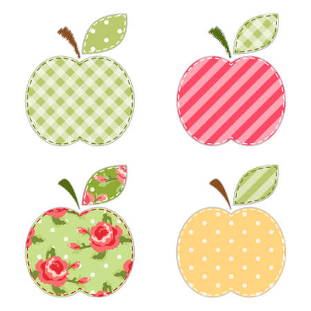 Fabric retro applique of cute apples with green leaf for scrap booking or invitation cards or party decoration Vectores