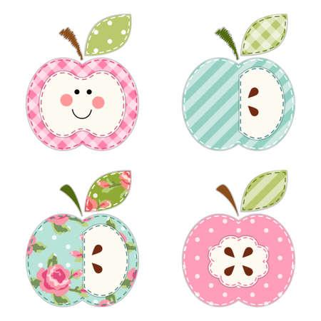 Leuke appels met zaden of als een karakter als applique retro stof