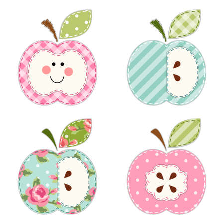 Cute apples with seeds or as a character as retro fabric applique