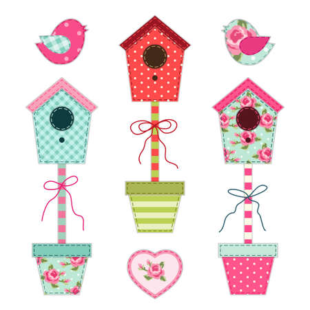 Cute retro spring and garden elements as fabric patch applique of bird house, flowers in pots and birds