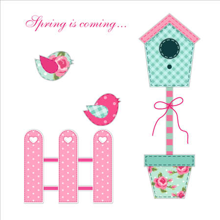 Cute retro spring and garden elements as fabric patch applique of bird house, flowers in pots and birds for your decoration Illustration