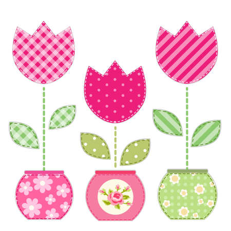 Cute retro spring and garden elements as fabric patch applique of flowers in pots for your decoration Illustration