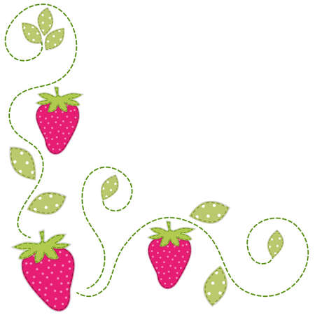 Cute retro background as patch fabric applique of strawberries