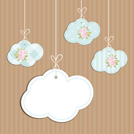 Retro background as handmade fabric clouds with vintage roses in shabby chic style, scrap booking elements for your decoration Illustration