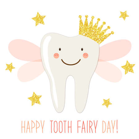 Cute Tooth Fairy Day greeting card as funny smiling cartoon character of tooth fairy with crown and hand written text Standard-Bild - 94373885