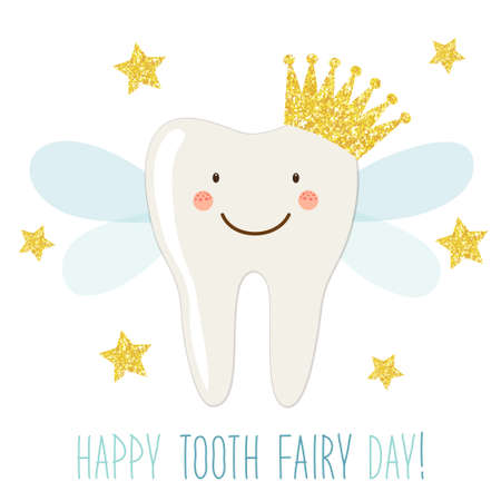Cute greeting card for Tooth Fairy Day as funny smiling cartoon character of tooth fairy with golden glitter crown, wings and hand written text Imagens - 94372229