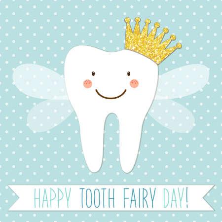 Nette Grußkarte für Zahnfee-Tag als lustige lächelnde Zeichentrickfilm-Figur der Zahnfee mit goldener Funkelnkrone, -flügeln und -handschriftlichem Text
