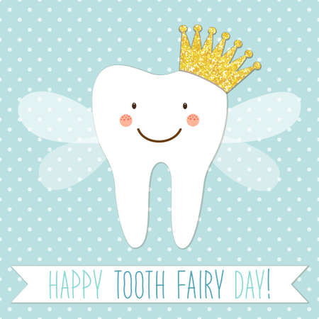 Cute greeting card for Tooth Fairy Day as funny smiling cartoon character of tooth fairy with golden glitter crown, wings and hand written text