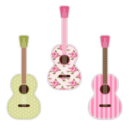 スクラップ予約、コンサートの招待状のための、アプリケ、カントリーフェスティバルの装飾としてみすぼらしいバラとかわいいレトロなファブリックギター。