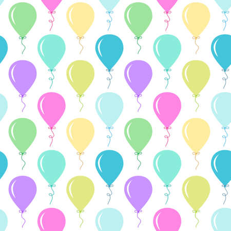 Seamless primitive retro background with party balloons of different colors ideal for baby shower  イラスト・ベクター素材