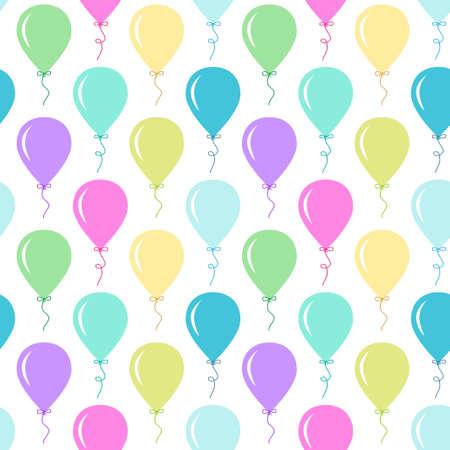 ベビーシャワーに最適な異なる色のパーティー風船とシームレスなプリミティブレトロな背景 写真素材 - 94471400